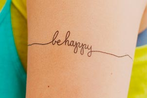 Happy Temporary Tattoo