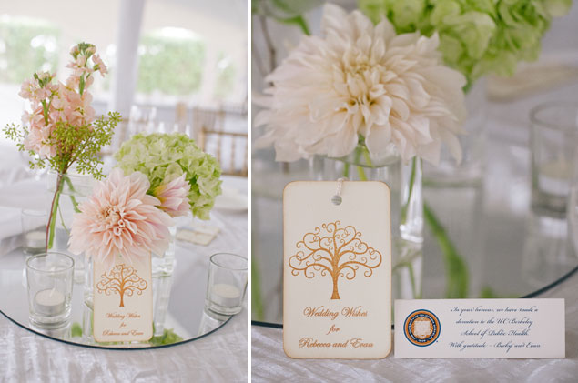 Pale Pink and Green Centerpieces