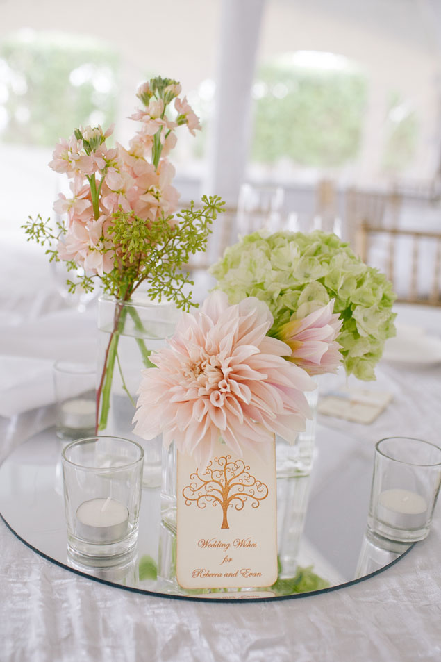 Pale Pink & Green Centerpiece