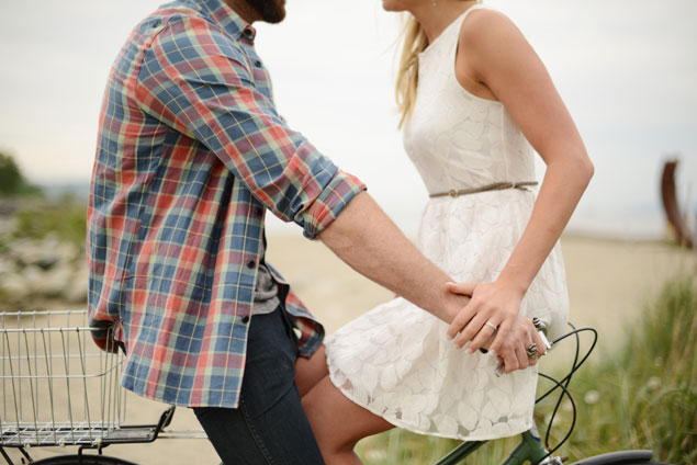 Beach Engagement with Vintage Bike
