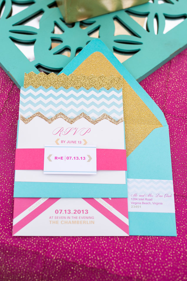 Hot Pink and Teal Wedding Invitations