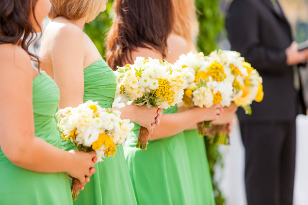 Yellow & White Bridesmaid Bouquets