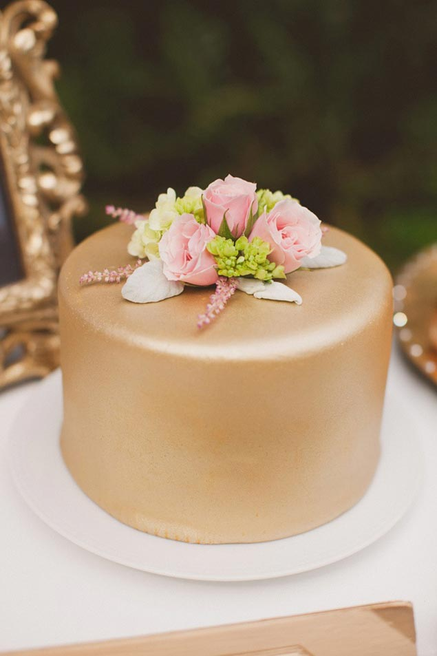 Simple Gold Wedding Cake