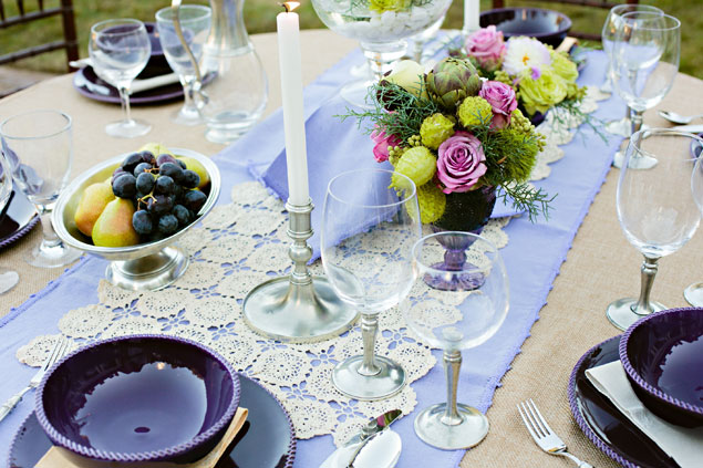 Purple and Green Floral Decor