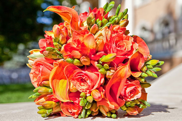Bright Orange Wedding Bouquet