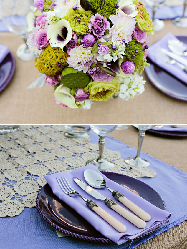 Purple & Green Wedding Decor