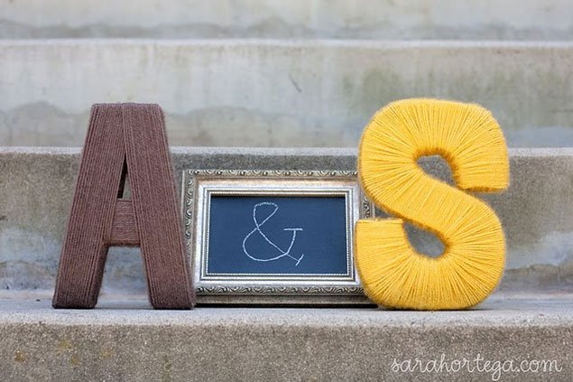 Yarn Wrapped Wedding Monogram