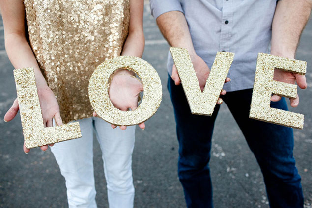 DIY Glitter Wedding Letters