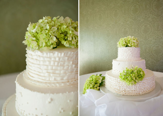 Lime Green Flowers on Cake