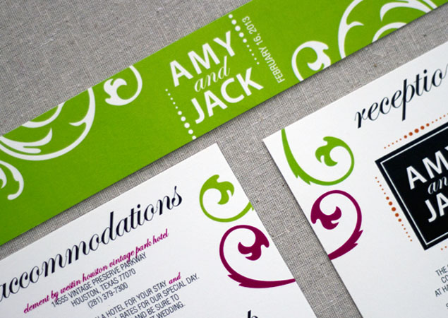 Lime Green and Pink Wedding Invitations