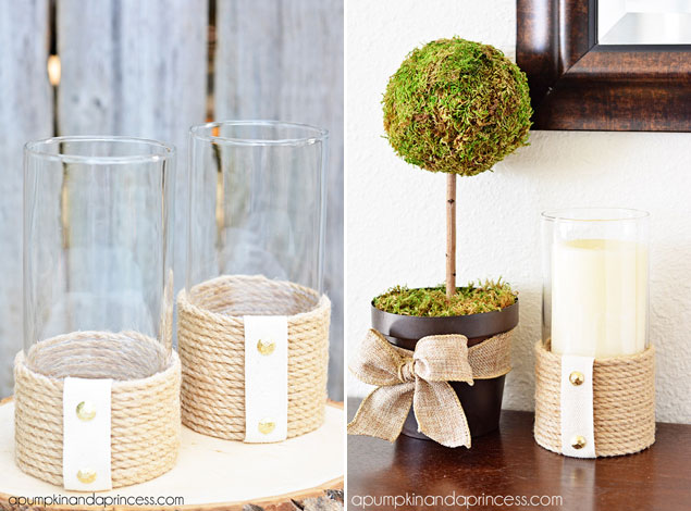 DIY Rope Hurricane Vases