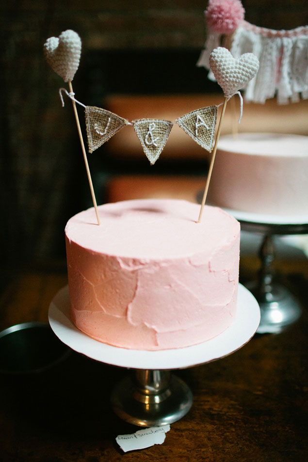 Simple Pink Wedding Cake
