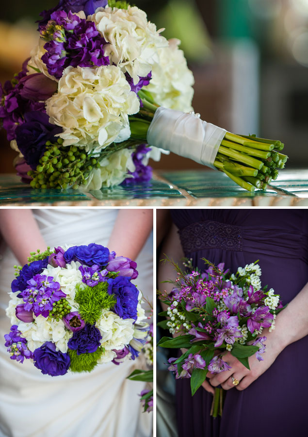 Purple and White Bouquets