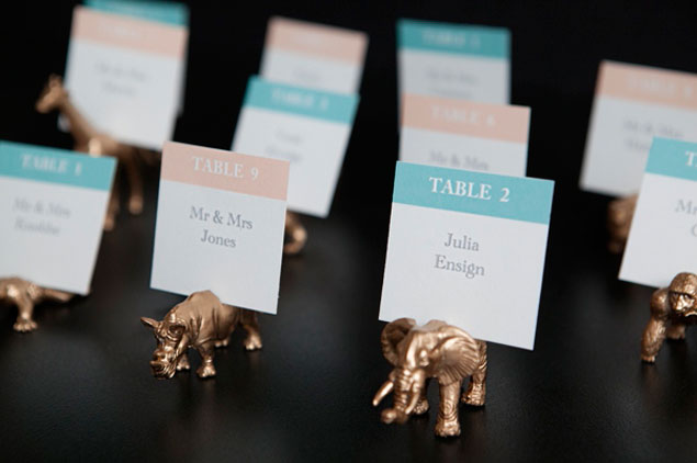 DIY Gold Toy Escort Cards