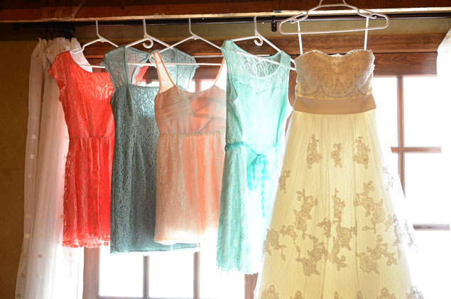Hanging Wedding and Bridesmaid Dresses
