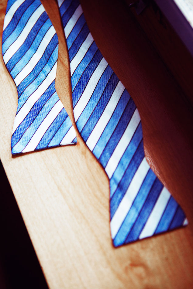 Blue and White Bow Tie