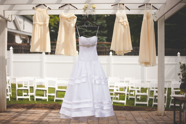 Hanging Wedding & Bridesmaid Dresses