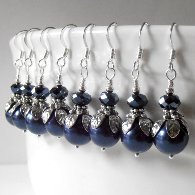 Navy Bridesmaids Earrings