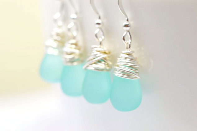 Aqua Bridesmaid Earrings