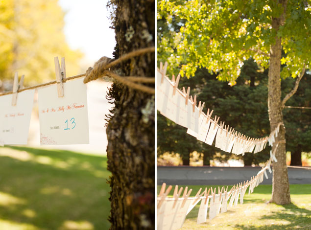 Clothesline Escort Card Display