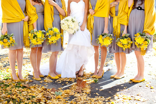 Yellow Bridesmaids Scarves