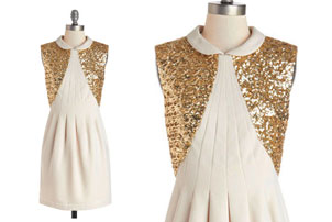 Cream Gold Party Dress