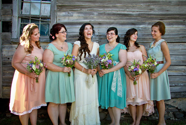 Mix and Matched Bridesmaid Dresses