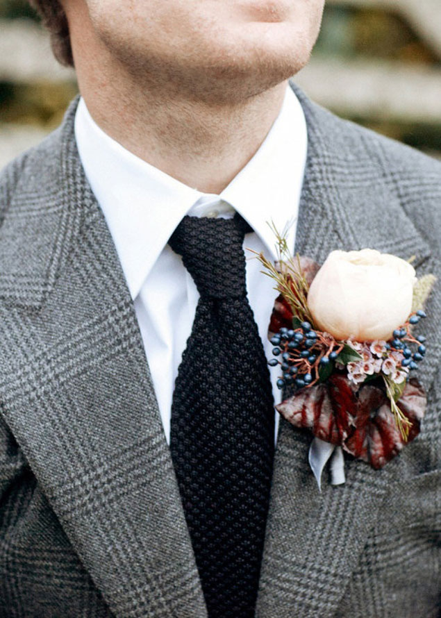 Winter Wedding Boutonnieres