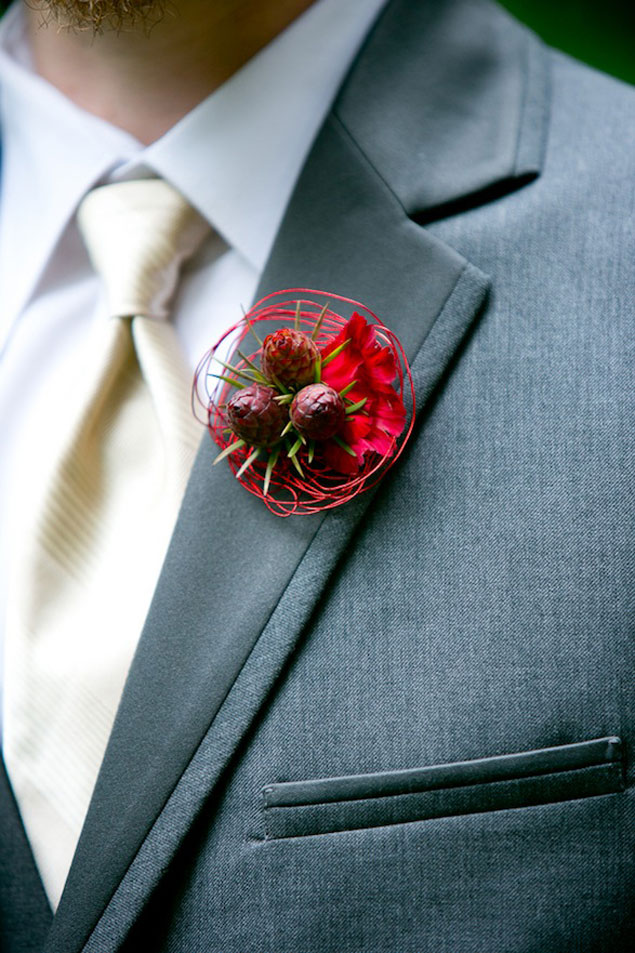 Red Winter Boutonniere