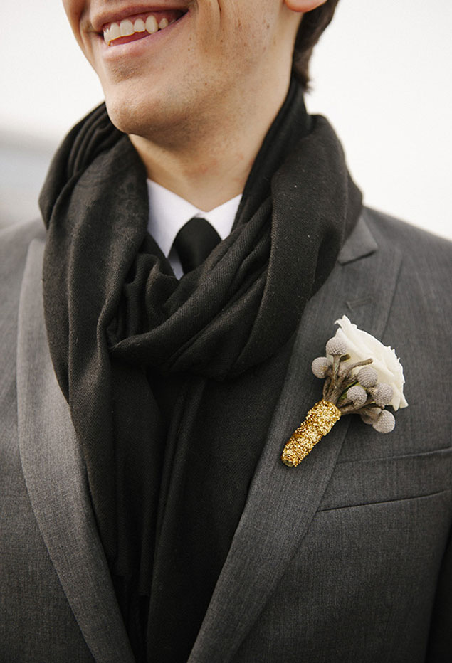 Cotton Winter Boutonniere