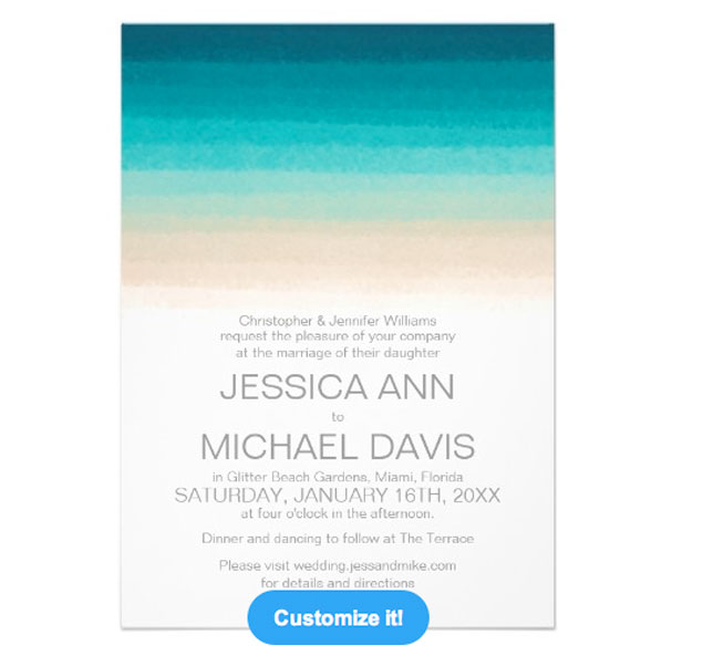 Beach Ombre Wedding Invitations