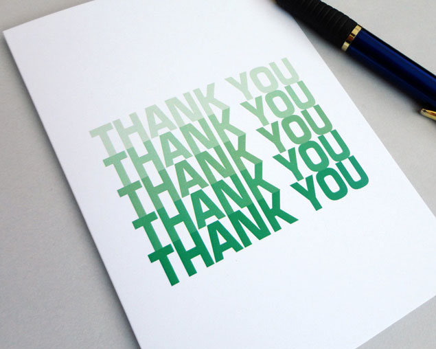 Green Ombre Thank You Card