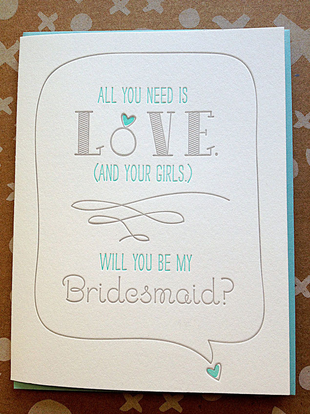 Letterpress Bridesmaid Card