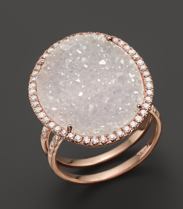 Druzy and Diamond Ring