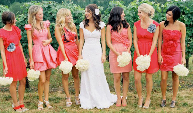 Mix Matched Bridesmaid Dresses