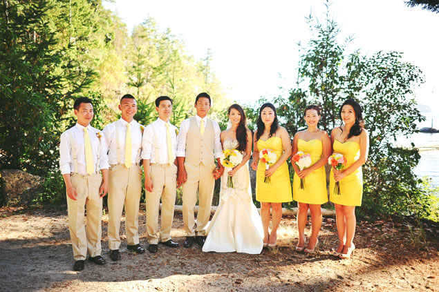 Tan and Yellow Wedding Party