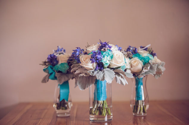 Teal Bridesmaid Bouquets