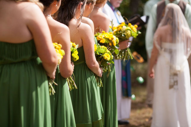 Green and Yellow Bridesmaids