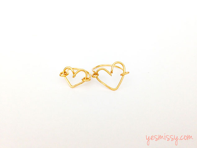 DIY Wire Heart Rings