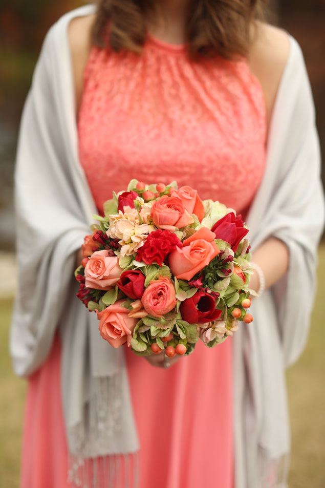 Coral Bridesmaid Dress and Bouquet