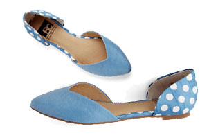 Light Blue Flats with Polka Dots
