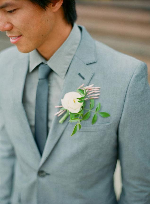 White Summer Boutonniere