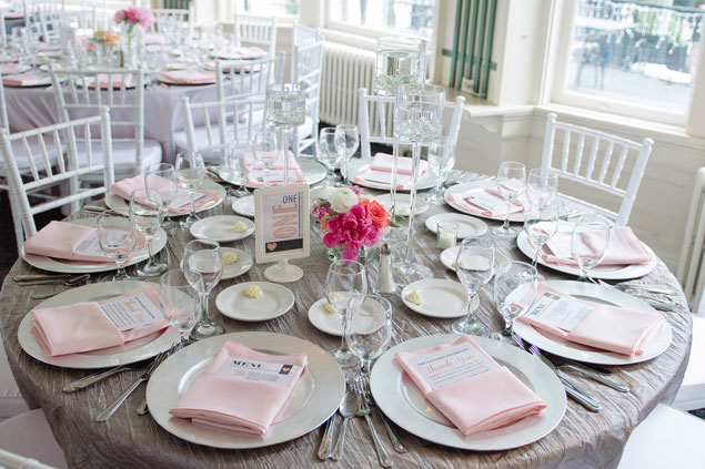 Pink and Gray Table Decor