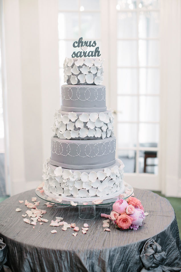White and Gray Wedding Cake