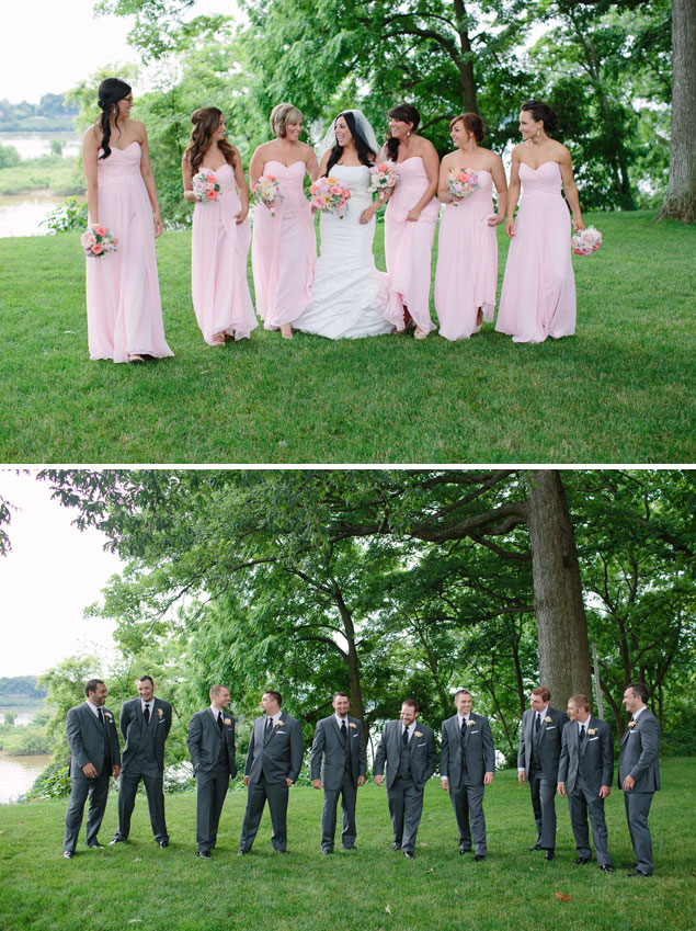 Pink and Gray Bridal Party Attire
