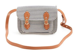 Striped Canvas Satchel
