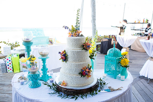 White and Teal Wedding