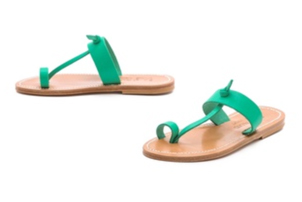 Green Toe Ring Sandals