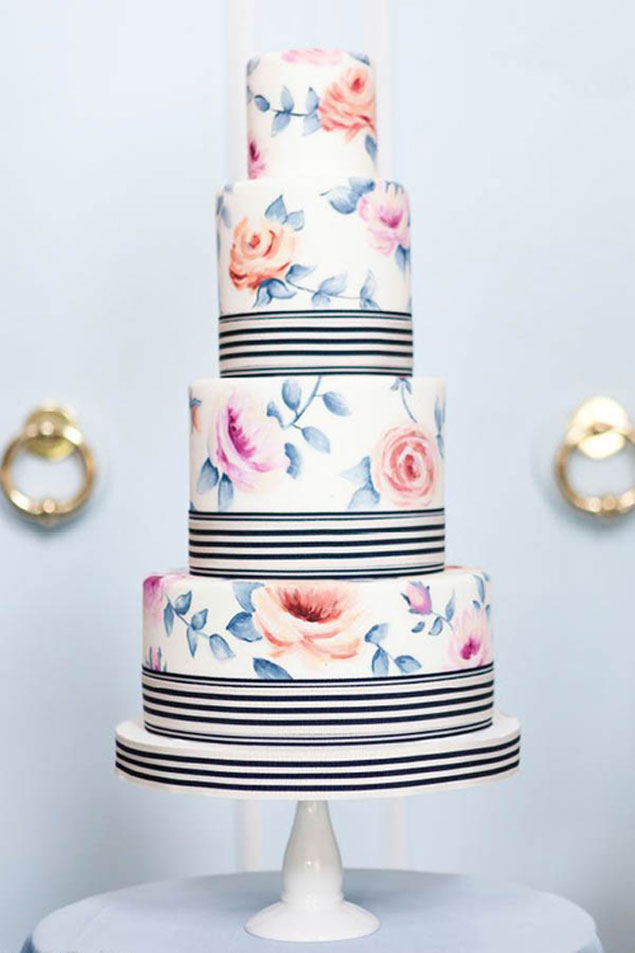 Stripes and Florals Wedding Cakes