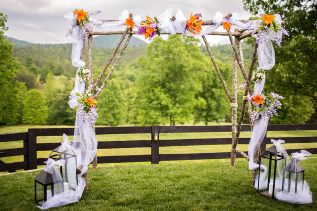Orange Ceremony Decor